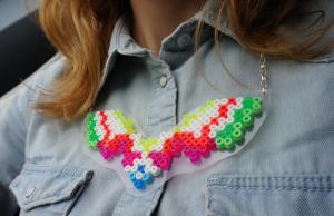hama bead necklace neon