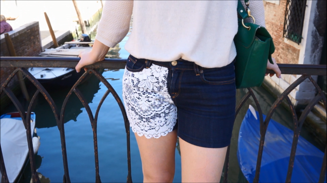 The Makeup Dummy | DIY Lace and polka dot shorts