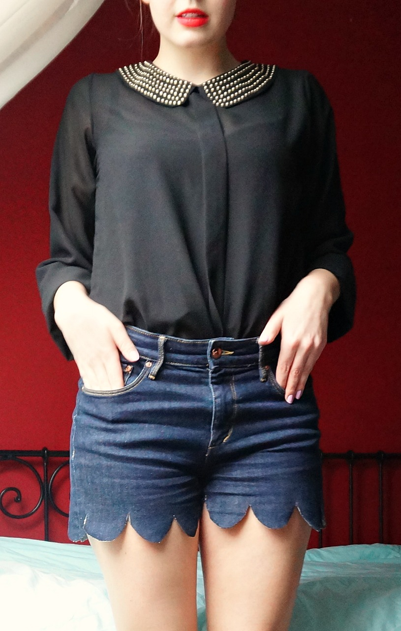 DIY Scalloped Jeans Shorts - The Makeup Dummy