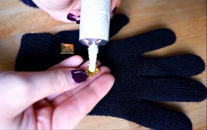 Use fabric glue to attach your studs very easy DIY